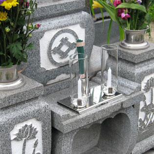 墓用仏具、ステンレス製線香・ロウソク立てクリスタルミニの通販・販売