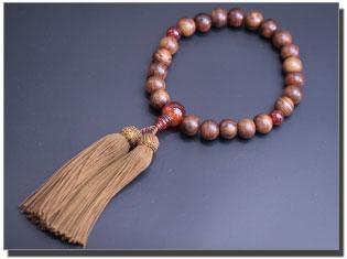 男性用数珠(京念珠) 栴檀/瑪瑙仕立の通販・販売