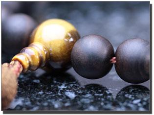男性用数珠(京念珠) 縞黒檀/虎目石仕立ての通販・販売
