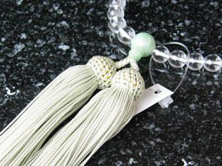女性用数珠(京念珠)本水晶 翡翠仕立の通販・販売