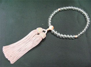 女性用数珠(京念珠)本水晶 珊瑚仕立の通販・販売